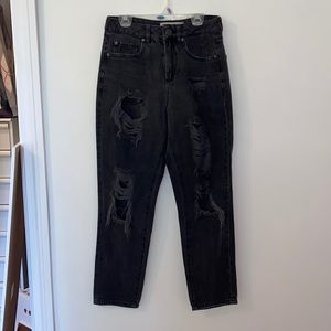 Black garage ripped mom jeans